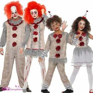 Details about Vintage Clown Costume Adults Kids Halloween Pennywise Horror  Scary Fancy Dress