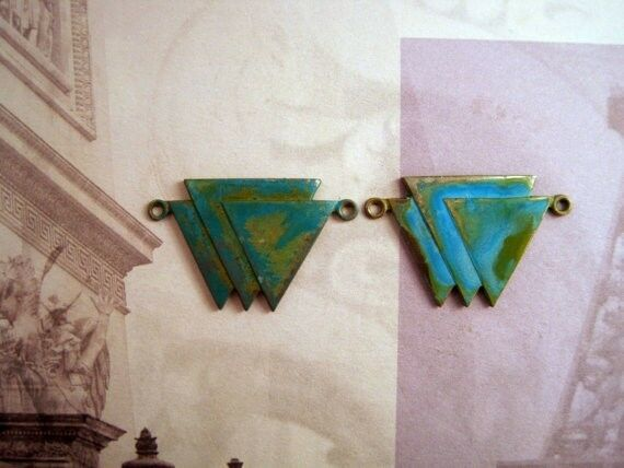 Verdigris Patina Brass Triangle Connectors (2) - VPS7748