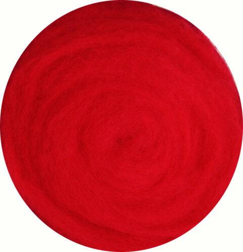 Red Carded Roving Wool Felting Spinning Craft Hand Needle Wet VK3004