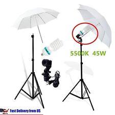 Studio Photography Lighting Kit 3 Point Lighting Umbrella Photo Bulb Lamp VIP