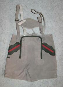 niedliche-kurze-Trachten-LEDERHOSE-Trachtenhose-Hose-in-grau-ca-Gr-92-98