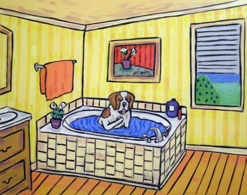 Saint bernard taking a bath bathroom dog  art print 11x14