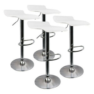 New Set of 4 Bar Stool Adjustable Height Leather Counter Swivel Dining Bar Chair