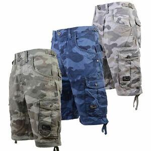 Mens-Crosshatch-Cargo-Shorts-Combat-Camo-Army-Long-Military-Knee-Length-Pants
