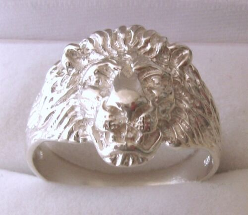 GENUINE SOLID 925 STERLING SILVER MEN/'S LION RING Sizes T//10 to W//11.5