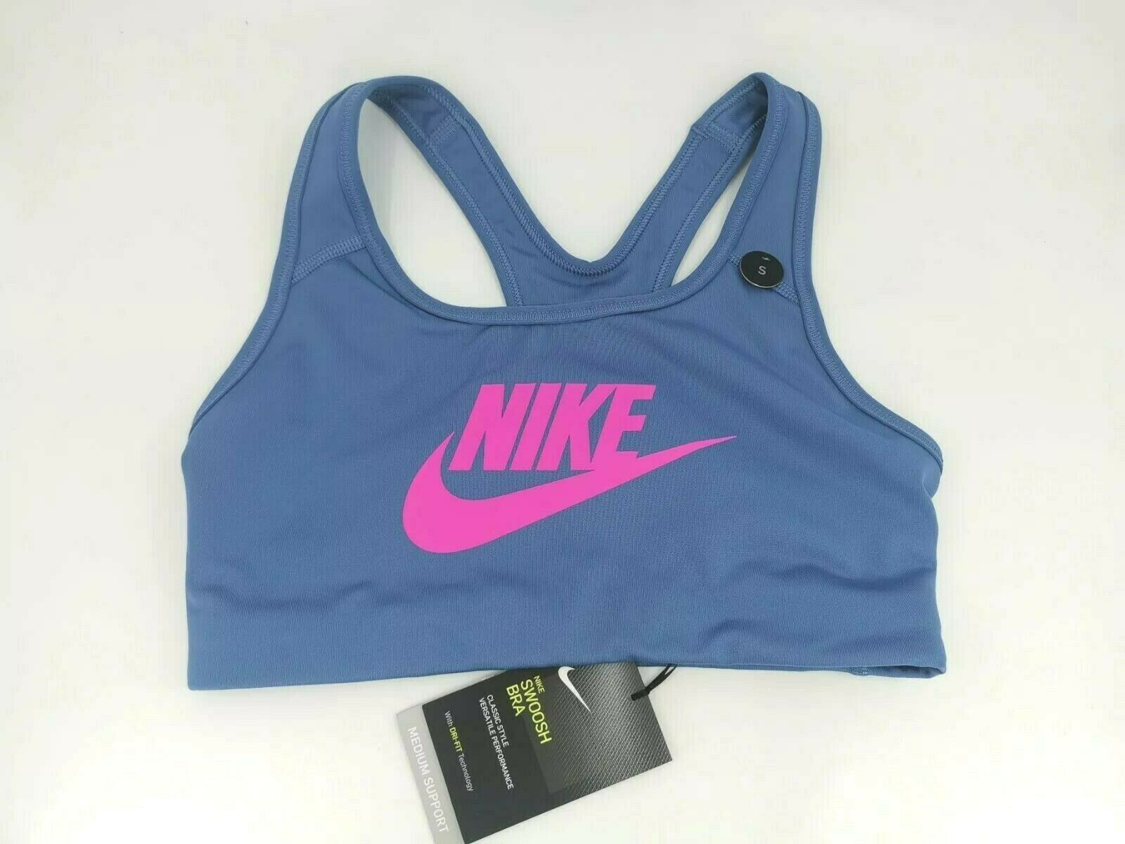 Nike Swoosh Sports Bra Small S Indigo Storm Fuchia 899370-458 Medium Support