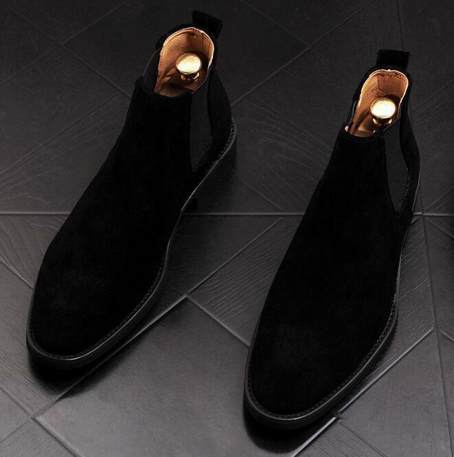 Men's Suede Chelsea Ankle Boots Flat Pointy Toe Pull On Casual High Top Shoes