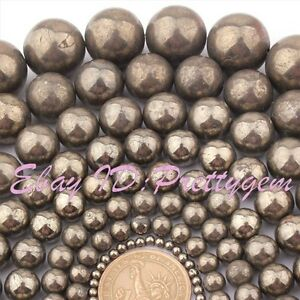 4-6-8-10-12mm-Natural-Round-Silver-Gray-Pyrite-Gemstone-Beads-Spacer-Strand-15-034