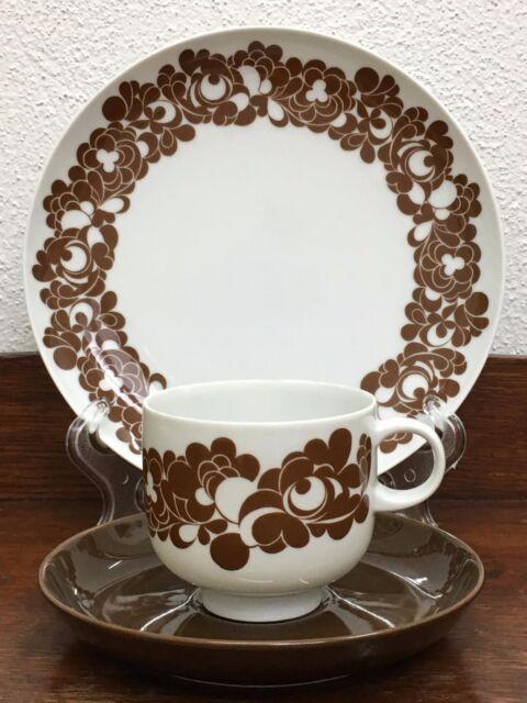 Rosenthal Cordial Plus /W. Karnagel Gedeck Kaffee braune Untertasse 3tlg / 7ties