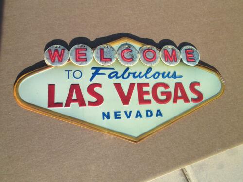 Welcome to Las Vegas Embossed Metal Sign 19x10 Garage Mancave Street Hotrod slot