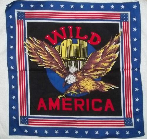 "COTTON BANDANA WILD AMERICA EAGLE BORDER BLUE SCARF APPROX 20/"" HAIR HEAD WRAP"