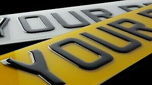 Pair-Road-Legal-Front-amp-Rear-3D-Gel-Raised-Domed-Gloss-Black-Car-Number-Plates