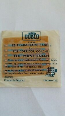 Hornby Dublo The Mancunian 12x Name Lables For D22 Corridor Coaches