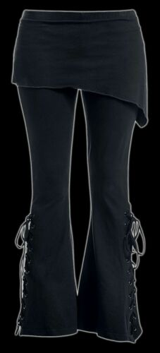 Urban Fashion Gothic Schlaghose mit Überwurf 2in1 Spiral Damen Leggings Hose