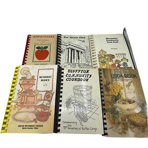 Vintage Lot of 6 Spiral Bound Cookbooks Ohio Apples Church Methodist Bluffton