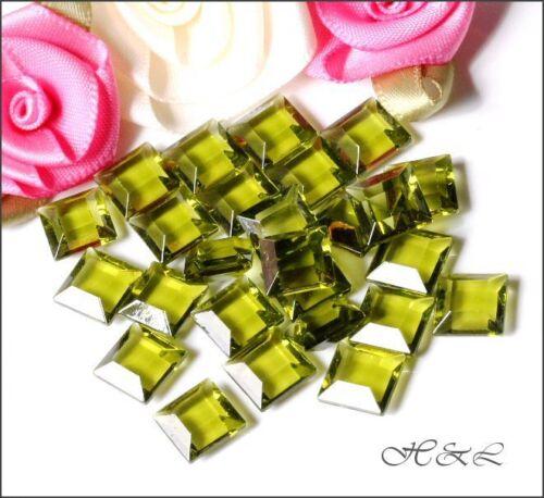 10 Swarovski Olivine Green 4402//2 Crystal 8x8mm Channel Cut U//F Olive Square 8mm