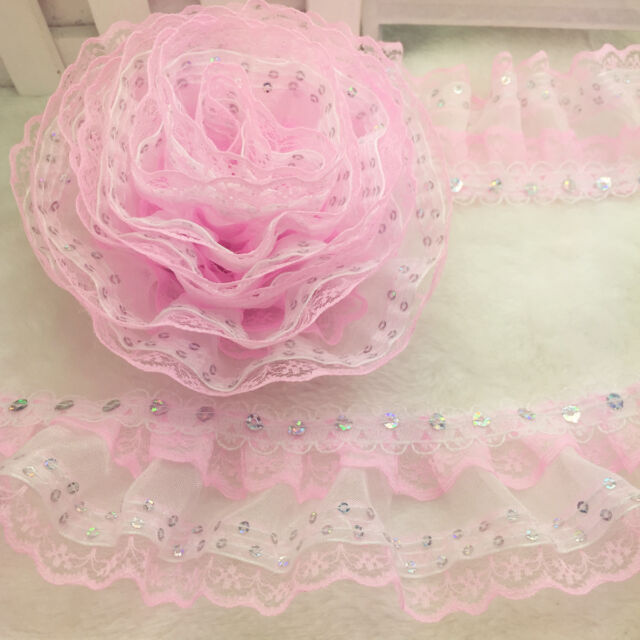 New  Hot 5 Yards 4-layer Pink Pleated Trim Mesh Lace Sewing  Sequin Gathered