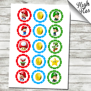"""SUPER MARIO BROTHERS 2/"""" ROUND EDIBLE CUPCAKE TOPPERS"""