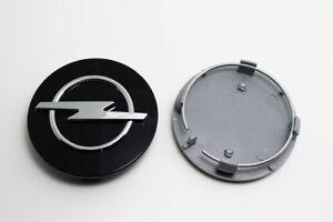 4x-64mm-OPEL-Schwarz-Nabendeckel-Felgendeckel-Nabenkappen-Emblem-Black
