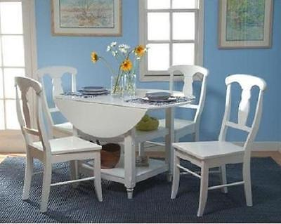 5 Pc White Dining Set 4 Chairs & Table w/ Drop Leaves Kitchen Furniture Cottage