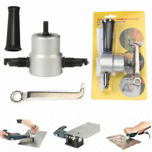 Double-Head-Sheet-Metal-Nibbler-Cutter-Holder-Tool-Power-Drill-Attachment-Kit