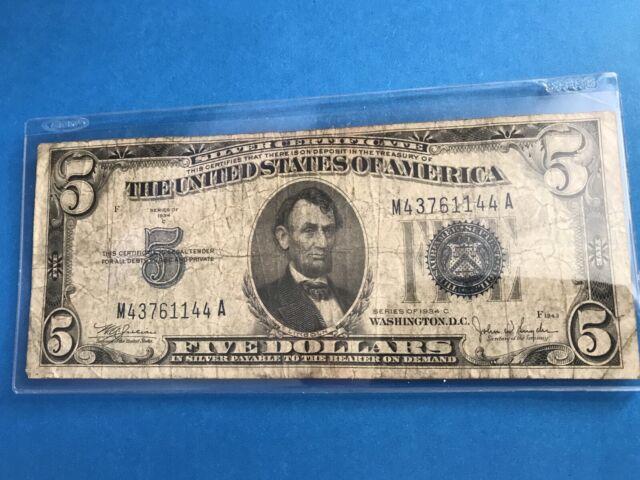 1934 C $5 Five Dollar Silver Certificate