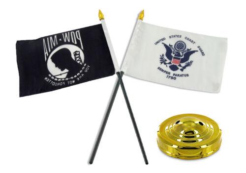 "POW MIA POWMIA /& Coast Guard USCG Flag 4/""x6/"" Desk Set Table Gold Base"