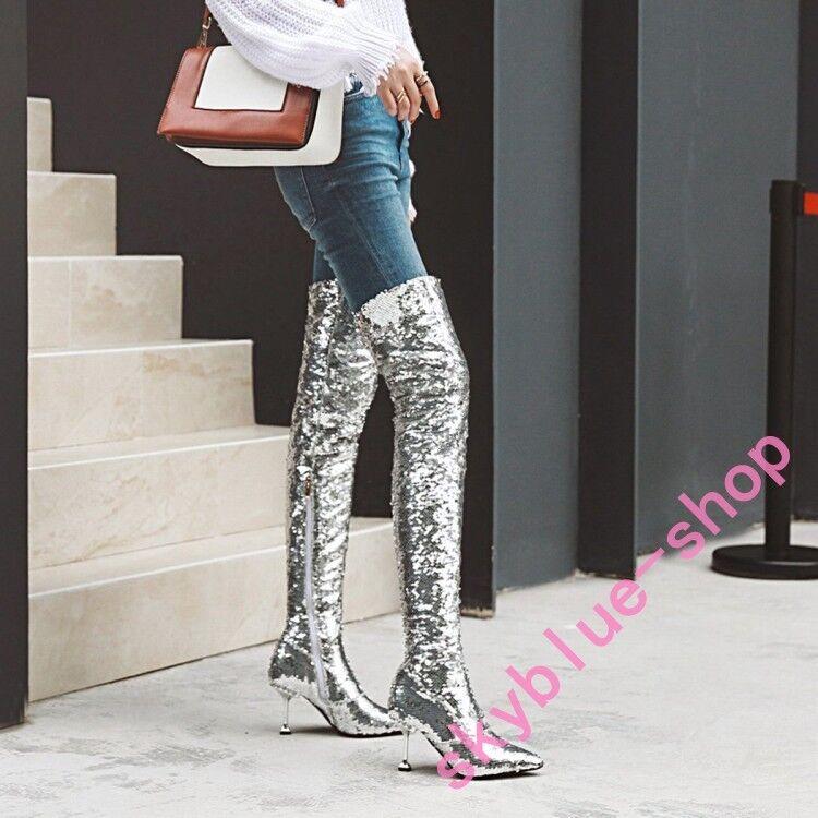 Donna Sequins Glitter Over Knee High Stivali Side Zipper Stiletto Heels Shoes sz