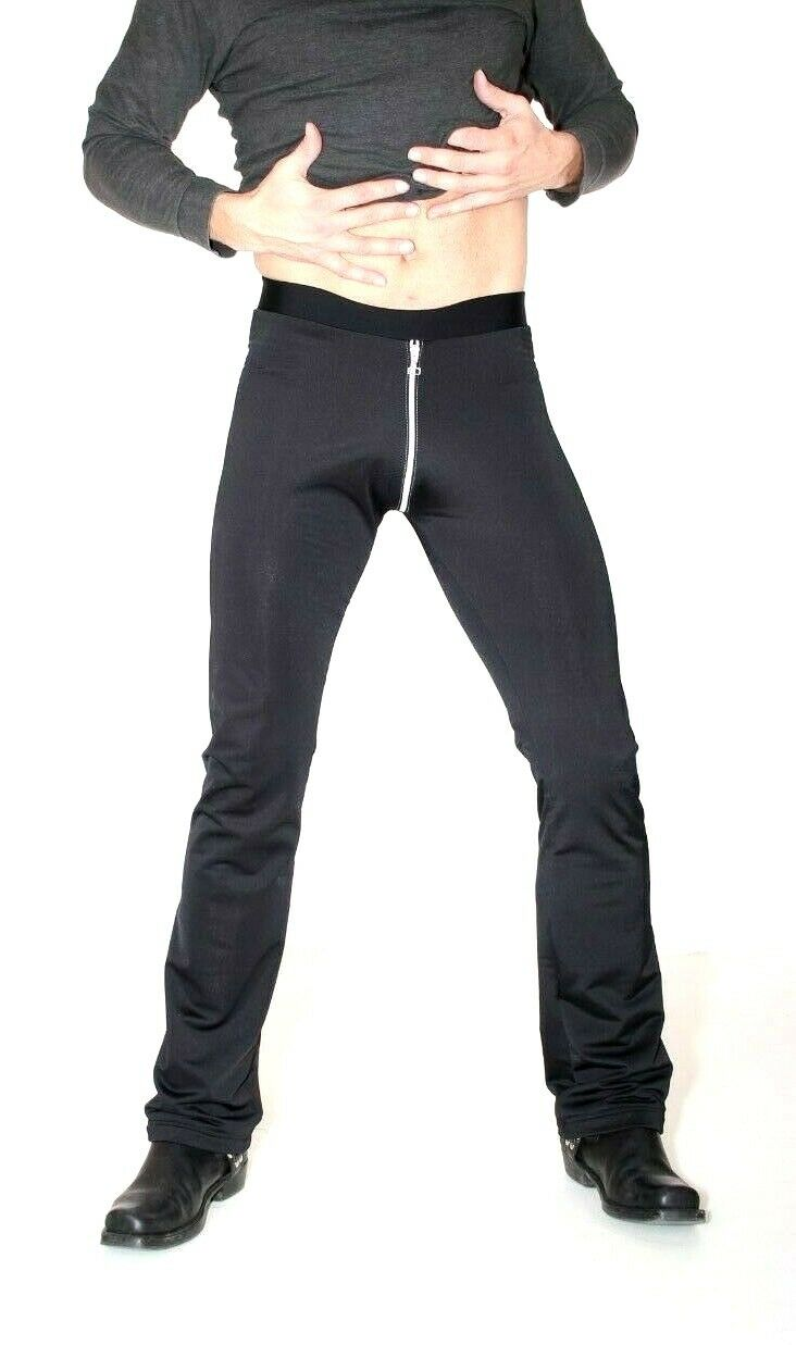 ExaMAN Stiefelcut Pants HL2BQ Microvelour mit Silbernem Zipper - L