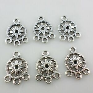 20pcs Tibetan Silver Charm Pendant Link Connector Jewelry Findings Flower