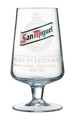 Official San Miguel Chalice Pint Beer Glasses 20oz