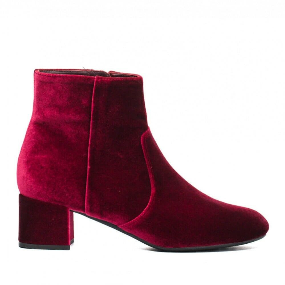 Unisa Red Velvet Heels Boots Booties shoes Round Toe Unkianna (R) SZ 7M 7 M