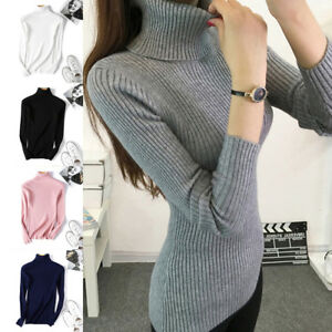 Women-Turtleneck-Slim-Knitted-Sweater-Long-Sleeve-T-shirt-Tops-Pullover-Jumper