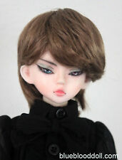 "1/4 bjd 7-8"" synthetic mohair brown doll wig minifee msd dollfie luts iplehouse"