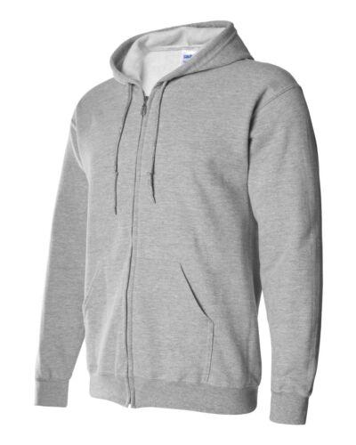 Gildan Men/'s Full Zip Up Heavy Blended Hooded Sweatshirt Hoodie 18600
