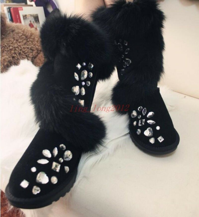 New Womens Mid-Calf Snow Boots Fur Trim Winter Thicken Warm Rhinestone shoes SZ