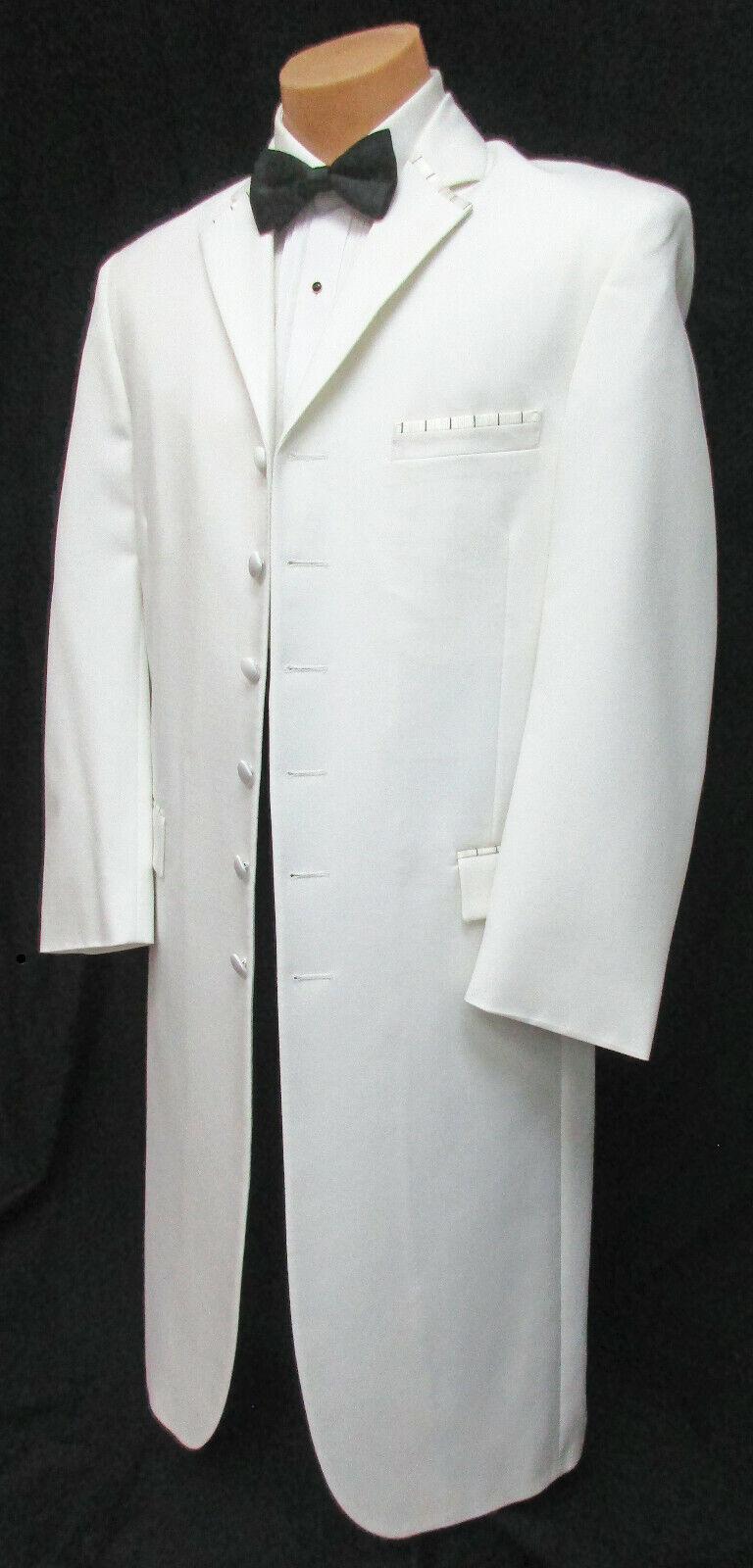 Men's Ecko Long White Tuxedo Jacket Frock Coat Duster Church Formal Mason 48R