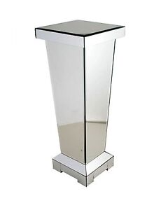 80 cm mirrored pedestal side lamp table plant stand telephone pillar image is loading 80 cm mirrored pedestal side lamp table plant mozeypictures Images