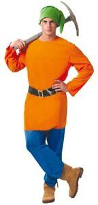 Orange pour Hommes Nain de Jardin Dessin Animé Film Costume ...