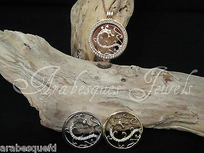 M. 24mm GENUINE STERLINA MILANO CRYSTAL DRAGON COIN/MONEDA 4 PENDANT/KEEPER AJMM