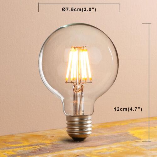 Vintage LED G80 Bulb Filament Antique Style Globe Edison Light E27 B22 Pack Of 4