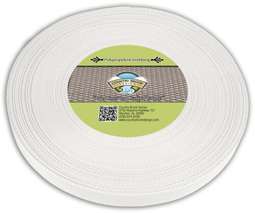 Country Brook Design® 3//4 Inch White Polypro Webbing 25 Yards