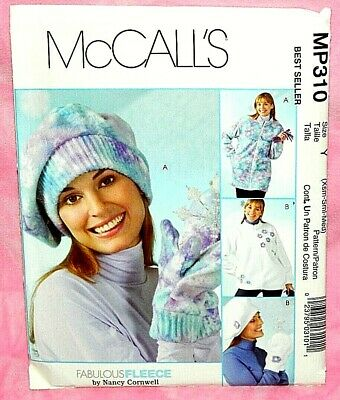 Adult and child fleece hats and mittens pattern McCall/'s 9061 Fleece hats and mittens pattern Uncut Novelty fleece hats pattern