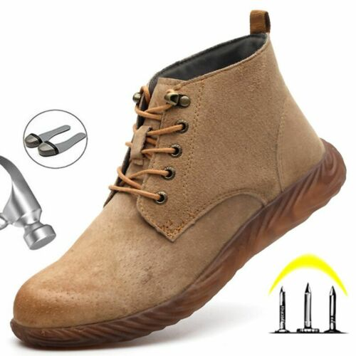 Mens Leather Safety Steel Cap Work Boots Waterproof Ankle Hiker Trainers Shoes