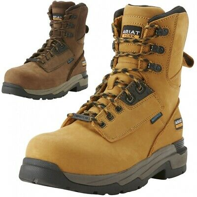 """ARIAT MasterGrip 8/"""" H20 Mens Wheat WP Composite Toe//Midsole Work Boots"""