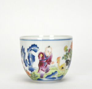 Rare-Chinese-Qing-Qianlong-MK-Boy-and-Rooster-Calligraphy-Porcelain-Cup