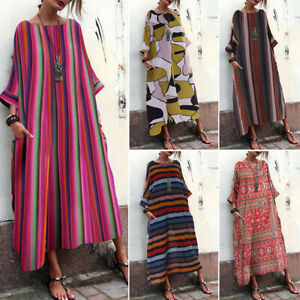 ZANZEA-Women-Batwing-Stripe-Long-Shirt-Dress-Full-Length-Maxi-Dress-Midi-Dress