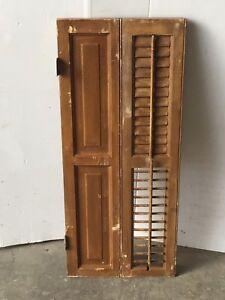 Image Is Loading Antique Bi Fold Window Wood Louvered Paneled Shutter