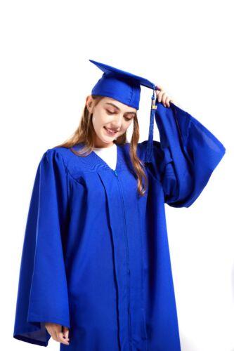 Graduation Cap and Gown 2021 Tassel College or High School Blue Matte Unisex