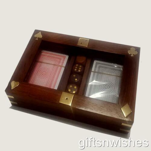 Rosewood Genuine Sheesham With Glass Lid Set of 2 Cards and 5 Dice Boxed